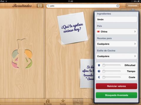 Busca una receta en tu iPad
