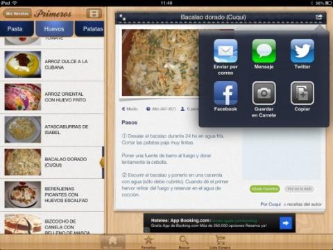 Guarda y comparte tus recetas favoritas con tu iPad