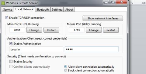 Configura Win Remote Service