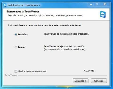Ventana para marcar la opción de instalar TeamViewer