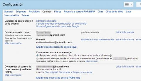 Envía los mensajes de otras cuentas desde Gmail