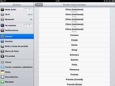 Configura las opciones del teclado