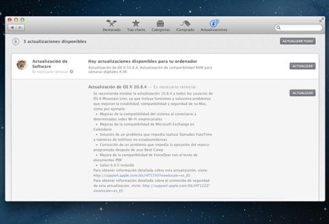 Mac OS X 10.8.4 actualización