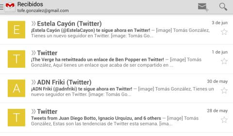 La nueva vista de la Bandeja de Entrada en Gmail incorpora iconos con imágenes o iniciales