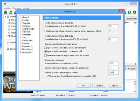 Configurar el ancho de banda de uTorrent