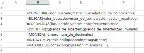 Listado de fórmulas