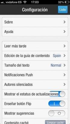 Configura las opciones en Flipboard