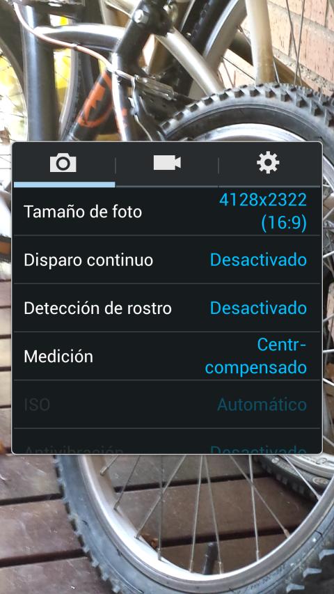 Configuración de la cámara del Galaxy S4