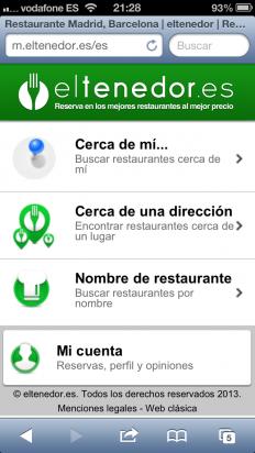 Entra en la web móvil de eltenedor.es
