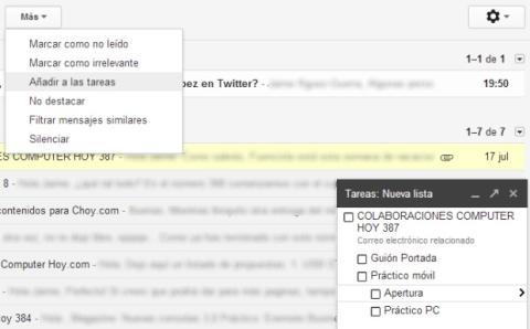 Convierte un correo en una tarea en Gmail