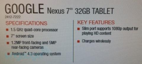 Especificaciones técnicas de la Nueva Nexus 7