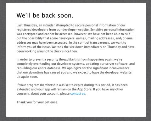 Mensaje de alerta para desarrolladores