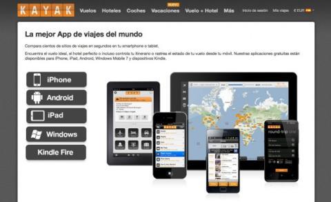 Descarga la app de Kayak para tu dispositivo