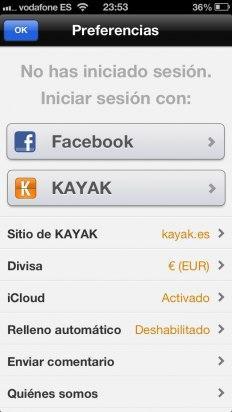 Inicia sesión en la app de Kayak