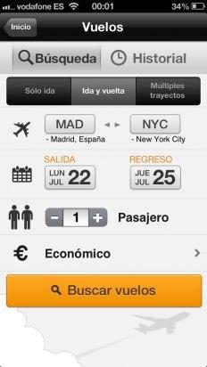 Busca tu vuelo en la app de Kayak