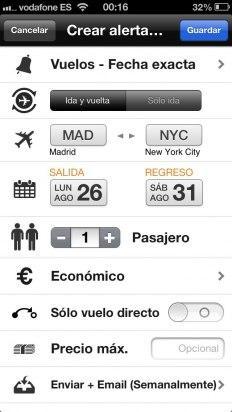 Crea una alerta de precios en la app de Kayak
