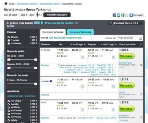 Utiliza los filtros y compara precios en Skyscanner