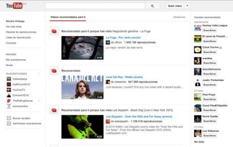 Explora los vídeos recomendados en YouTube