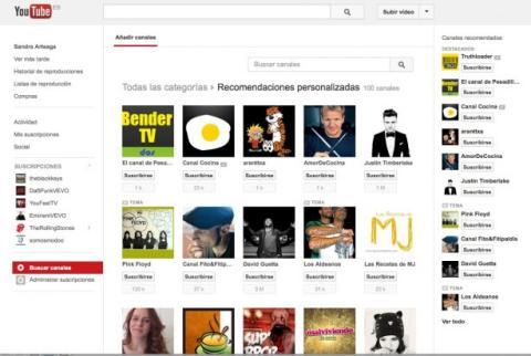 Explora los canales recomendados en YouTube