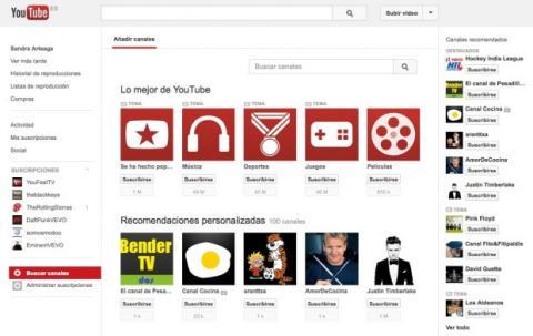 Busca nuevos canales en YouTube