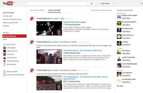 Sigue la actividad de tus suscripciones en YouTube