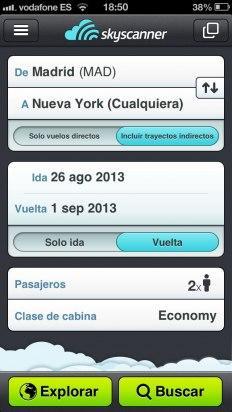 Busca tu vuelo en la app de Skyscanner