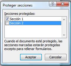 Secciones protegidas