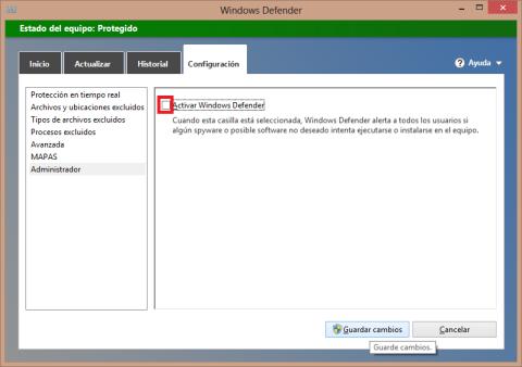 Desactivar la protección de Windows Defender