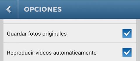 Opciones de Instagram