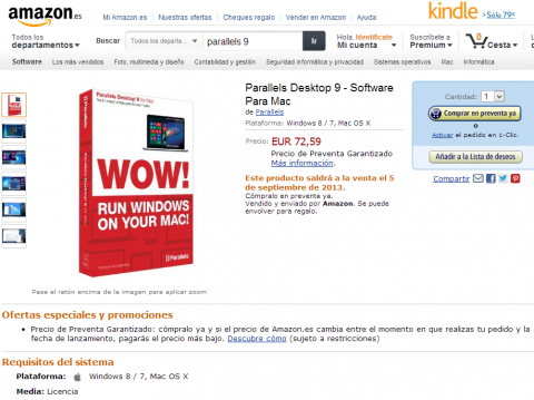 parallels desktop 9 para mac en amazon