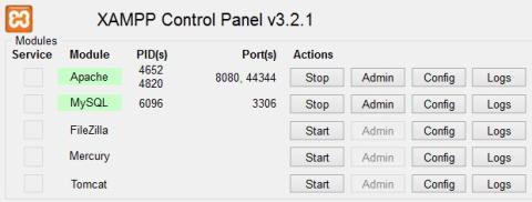 Panel de control de Xampp