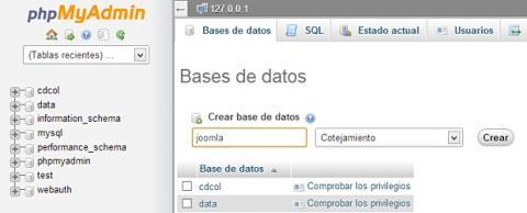 Crea una base de datos para Joomla