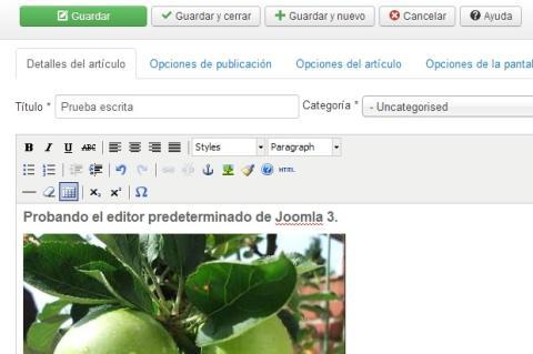 Editor visual de Joomla