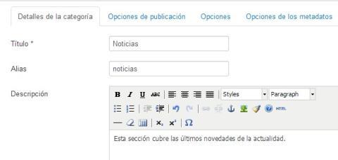 Crear una nueva categoría en Joomla