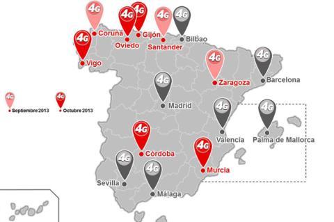 Mapa 4 G vodafone