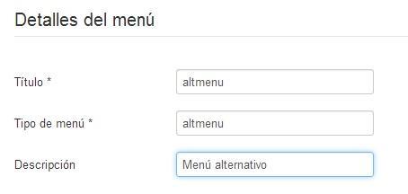 Crear un menú nuevo en Joomla