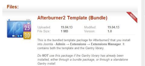 Afterburner tema gratuito para Joomla