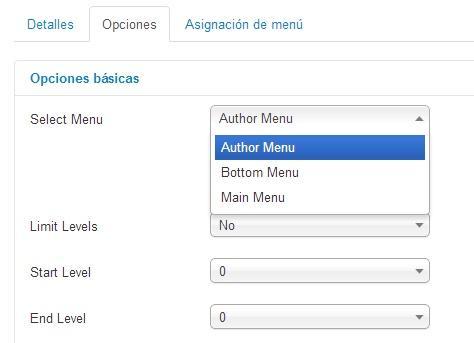 Configura el módulo de Joomla