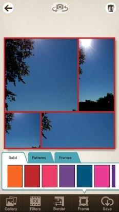 Elige el marco en Pic Collage Editor