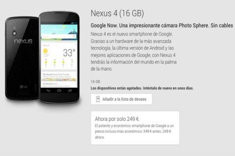 Nexus 4, también agotado en Google Play