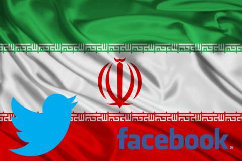 Bandera de Irán con Twitter y Facebook