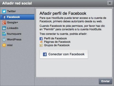Añade tus perfiles en las redes sociales en HootSuite
