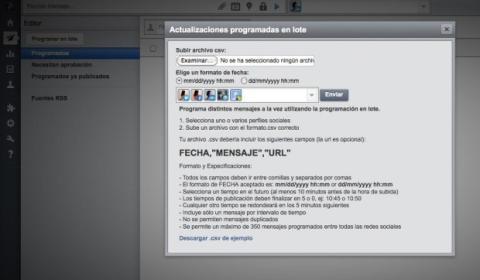 Importa el archivo CSV editado en HootSuite