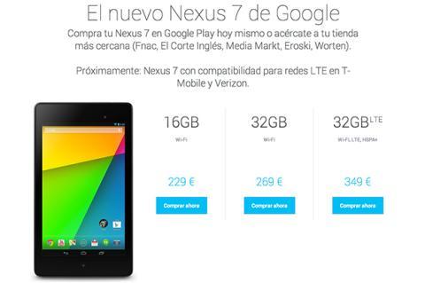 Nexus 7 ya a la venta en España