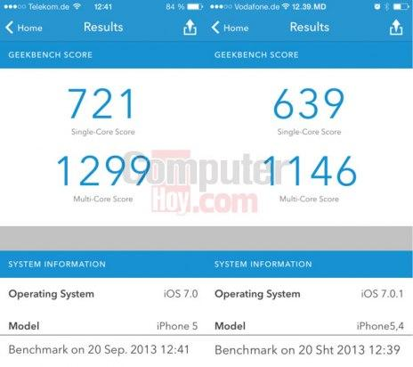 geekbench iphone 5 y iphone 5c