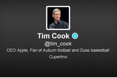Timm Cook, CEO de Apple, abre cuenta en Twitter