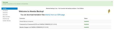 Instala AkeebaBackup en Joomla