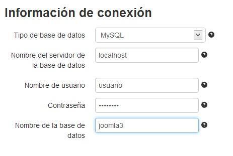 Facilita los datos de conexión a la base de datos