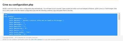 Escribe el fichero de configuración de Joomla
