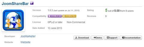 Instala JoomShareBar en Joomla
